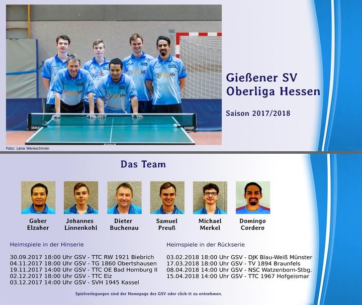 Tischtennis Oberliga Heimspieltermine des Gießener SV 2017